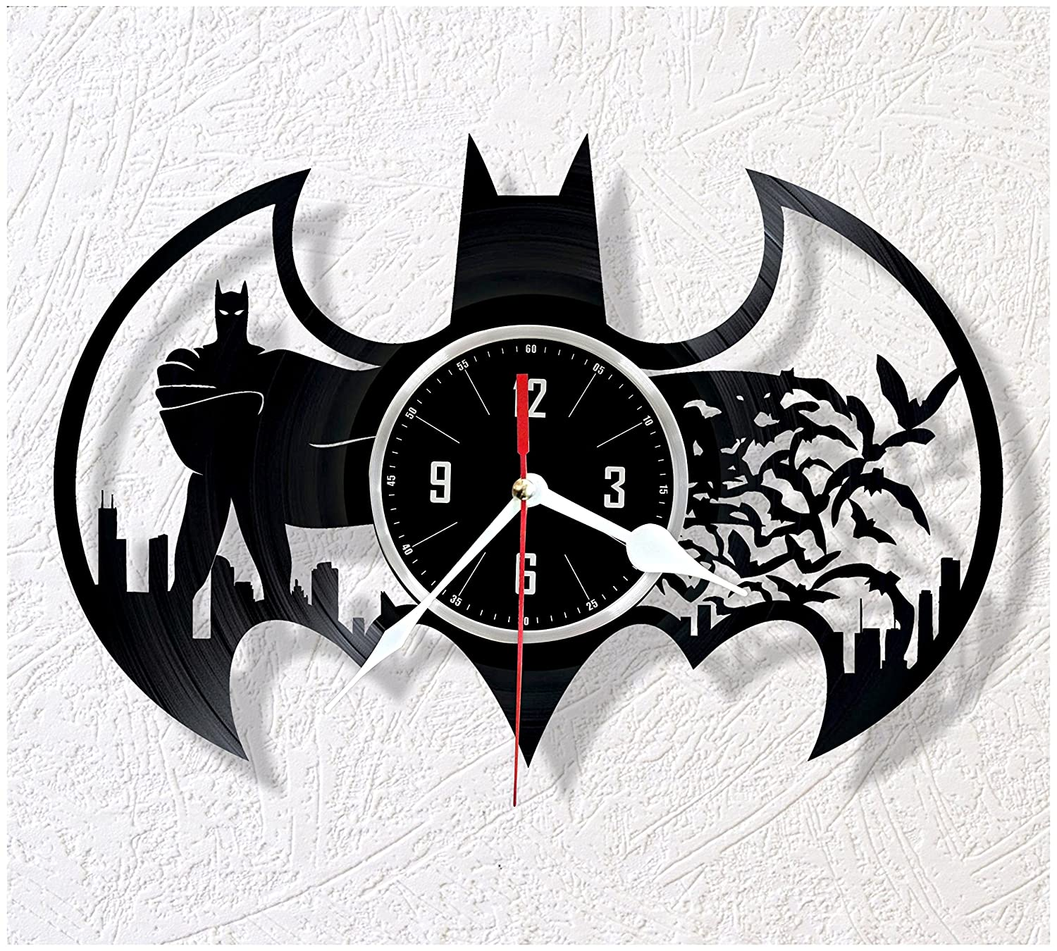 BATMAN vinyl wall clock - great gift for birthday, anniversary or any other occasion - beautiful home decor - unique design that made out of retro vinyl ...