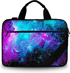 RICHEN Canvas Laptop Shoulder Bag Compatible with 11.6/12/12.9/13 Inches Laptop Netbook,Protective Canvas Carrying Handbag Briefcase Sleeve Case Cover with Side Handle (11-13 inch, Galaxy)