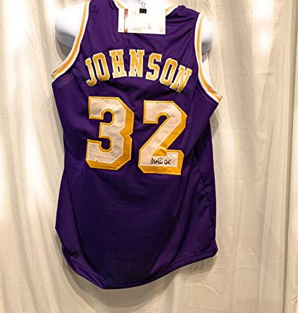ebe7be8d633 Magic Johnson Los Angeles Lakers Signed Autograph Purple Custom Jersey JSA  Witnessed Certified