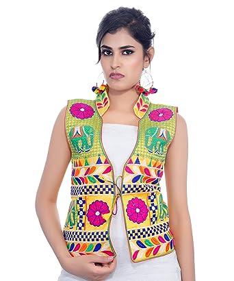 0ef7e36e5c Banjara India Women's Dupion Silk Embroidered Kutchi Waist Length Jacket/Koti  (MJK-HTH05_Yellow_Free