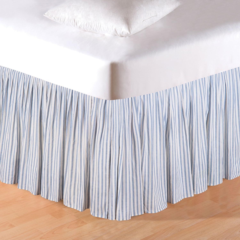 C&F Home Sea Blue Ticking King Bed Skirt King Bed Skirt Blue