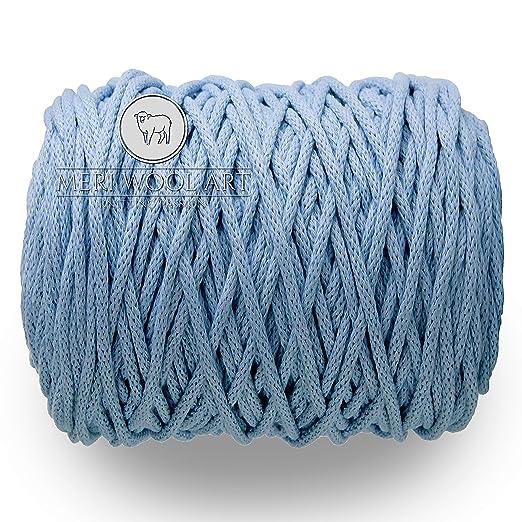 MeriWoolArt - Hilo de macramé de 6 mm, 100 m, 50 m de algodón, Cuerda para té, borlas, Cojines, cestas y Punto de algodón