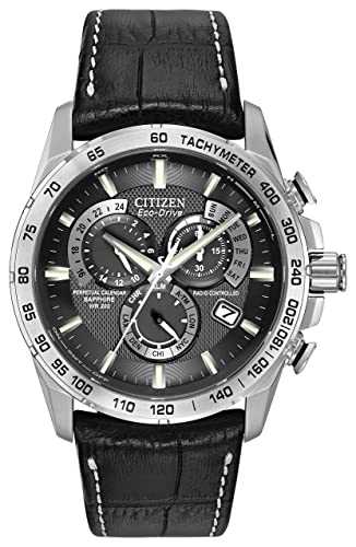 c6b411e4d Citizen Men's Eco-Drive Chronograph Watch with a Black Dial and a Black  Leather Strap AT4000-02E: Amazon.co.uk: Watches