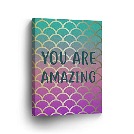 You are Amazing Quote Mermaid Decor Canvas Print Kids Room Decor Wall Art Baby Room Decor Nursery Decor Stretched Ready to Hang- 100 Handmade in The USA- 36×24