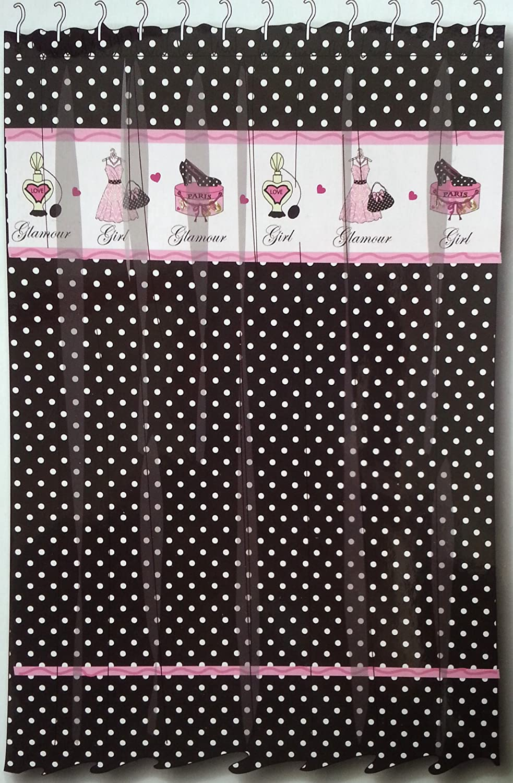 Gray and white polka dot curtains - Amazon Com Glamour Girl Black White Polka Dot Fabric Shower Curtain W Pink Diva Paris Chic 70 X 72 Home Kitchen