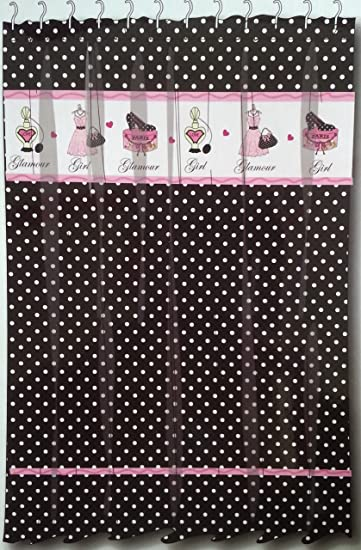 Glamour Girl Black White Polka Dot Fabric Shower Curtain W Pink Diva Paris Chic