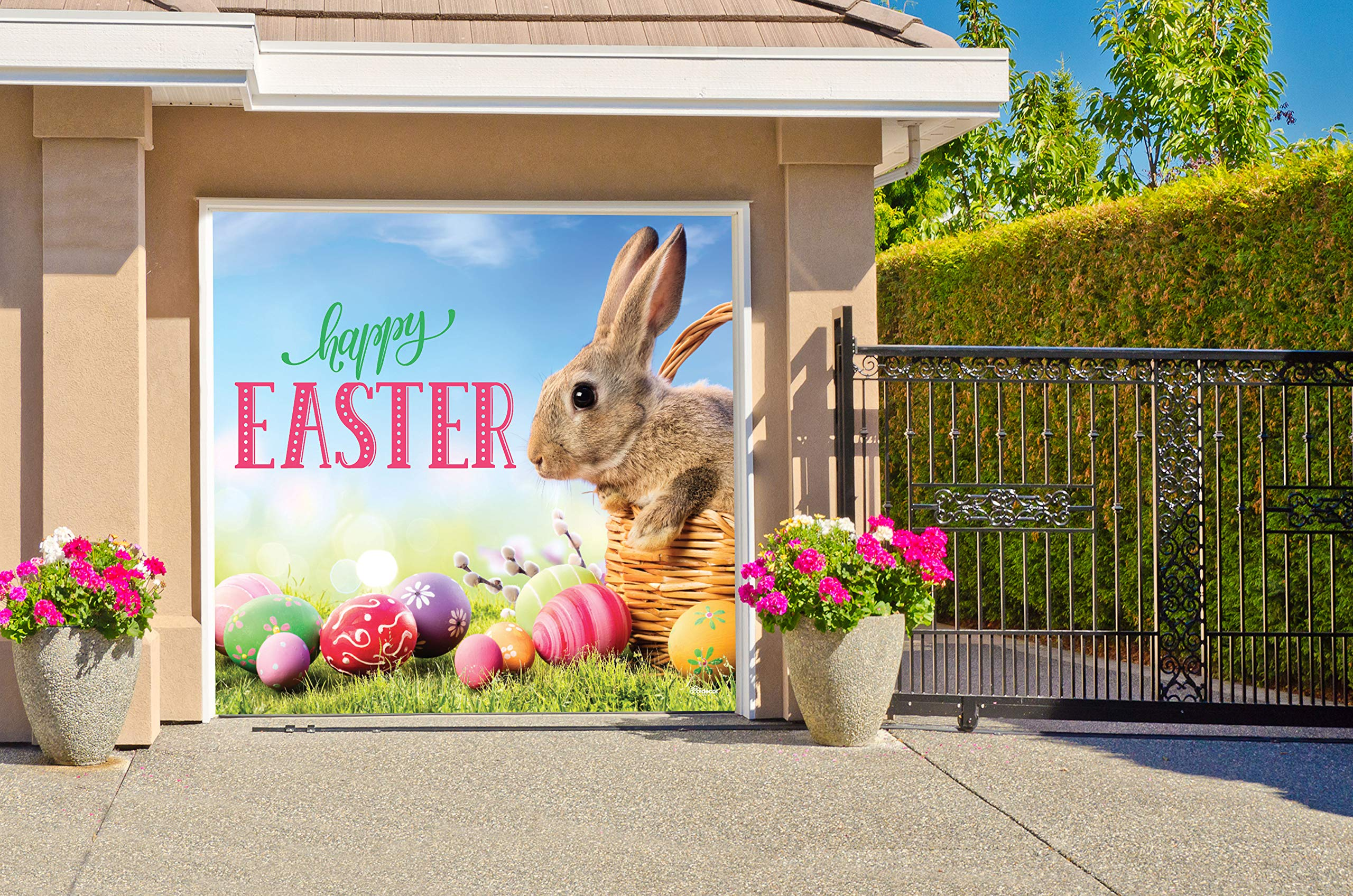 Victory Corps Happy Easter Bunny Basket - Holiday Garage Door Banner Mural Sign Décor 7'x 8' Car Garage - The Original Holiday Garage Door Banner Decor