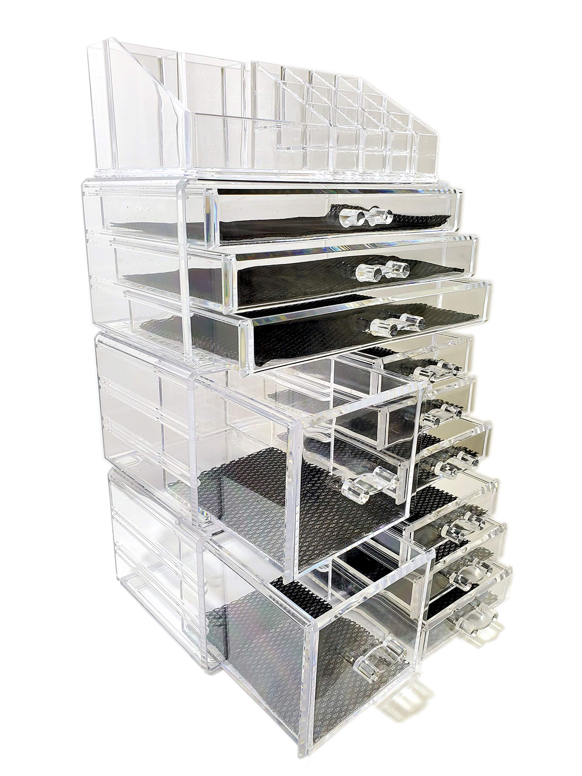 Townhouse Design Acrylic Jewelry & Cosmetic Storage Display Boxes,Makeup Organizer,Stackable and Detacable, 4 Pieces Set