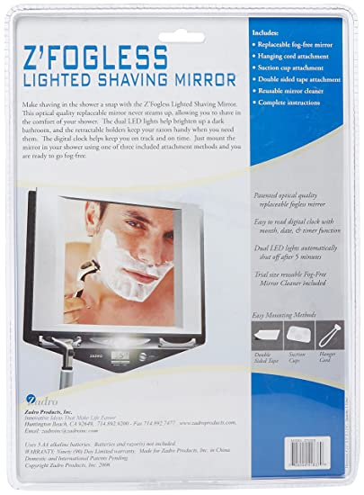 Amazon.com : Zadro Fogless LED Lighted Fog Free Shower Mirror LCD Clock : Shower  Mirrors : Beauty