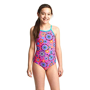 4d02217a3b Zoggs Girls' Folk Tale Strappy Hi Front Swimsuit, Pink/Multi-Coloured,