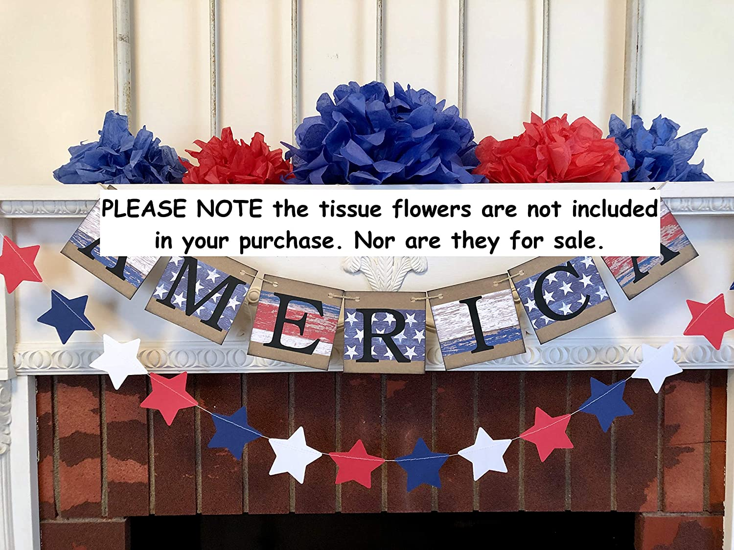 Country Fourth of July banner Patriotic Decorations July 4th Garland Red White and Blue Fourth of July Decorations America Banner