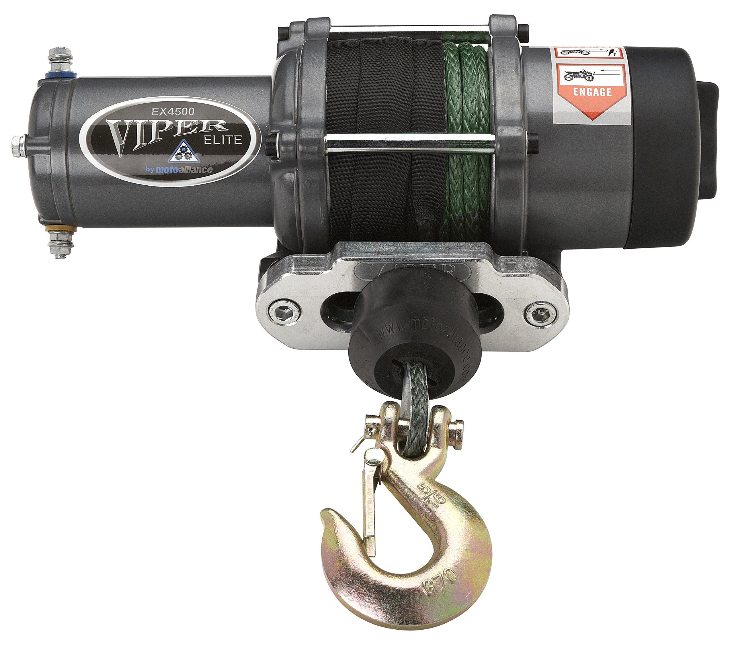 VIPER Elite 4500lb ATV/UTV Winch with 40 feet GREEN AmSteel-Blue Synthetic Rope