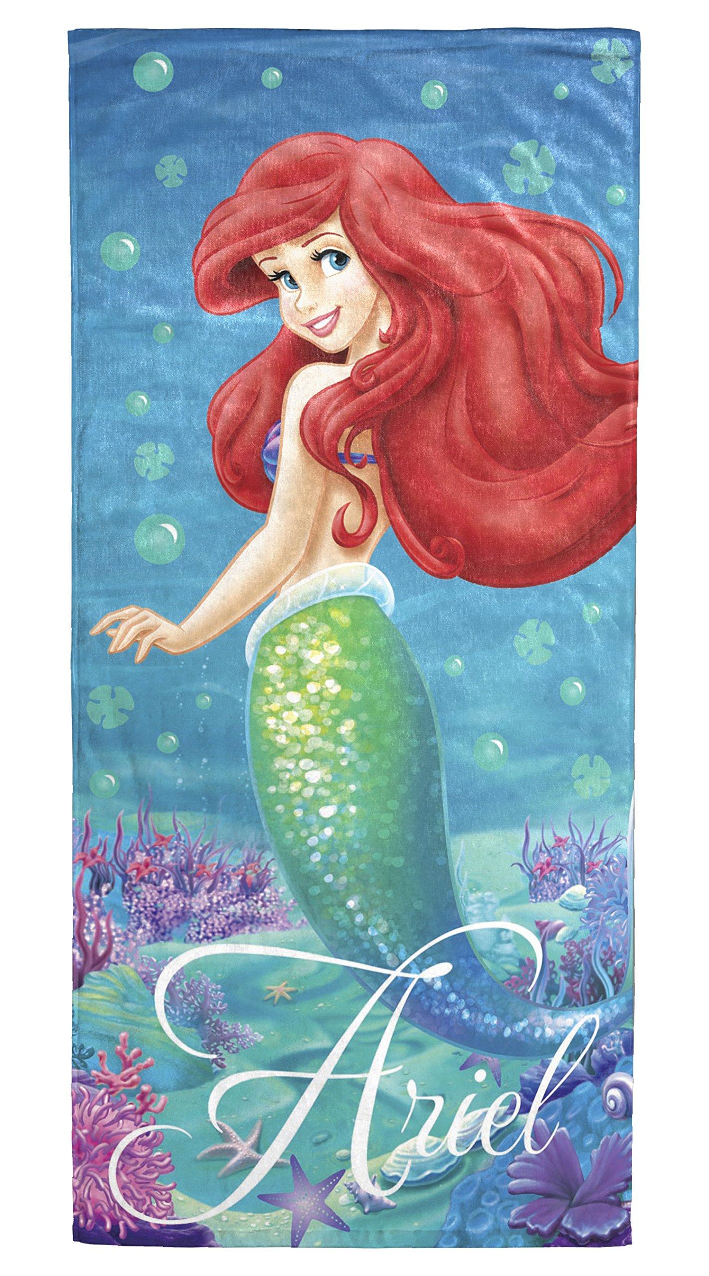Disney Little Mermaid Ariel Splash 100% Cotton 28'' X 58'' Plush Beach/Bath Towel