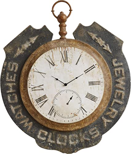 Creative Co-op DA8480-1 Distressed Metal Clock