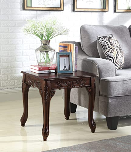 Roundhill Furniture Traditional Ornate Detailing Wood End Table