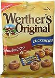 Werther's Original Sahnebonbons zuckerfrei – Schmackhafte Karamellbonbons ohne Zucker zum Naschen für die ganze Familie – 12 x 70g Beutel