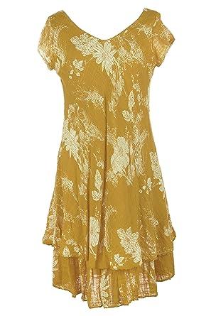 8eddd188da TEXTURE Ladies Womens Lagenlook Italian Cap Sleeve V Neck Floral Layered Midi  Dress One Size (Mustard