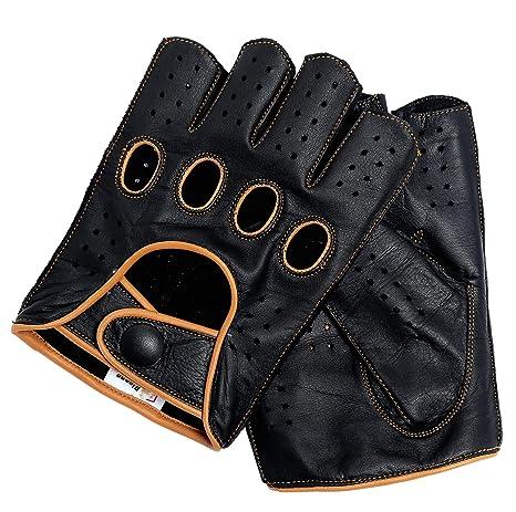 Riparo Fingerlose Motorradhandschuhe aus echtem Leder mit r/ückfester fingerloser Mitte f/ür M/änner Mittel Cognac