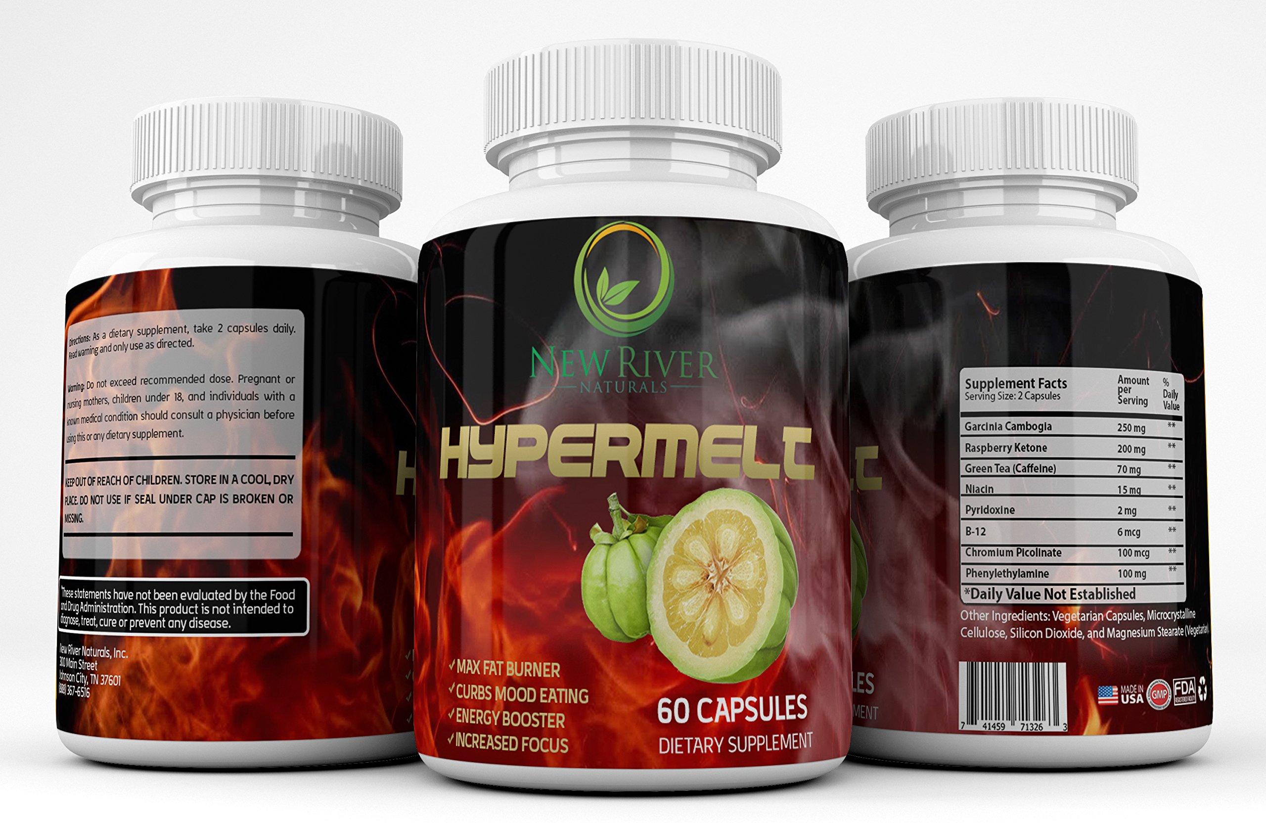 HyperMelt **2-Pack** Natural Fat Burner Weight Loss Supplement - Max Fat Burner - Curbs Mood Eating - Energy Booster - Increased Focus - Garcinia Cambogia - Raspberry Ketones - Green Tea - B12