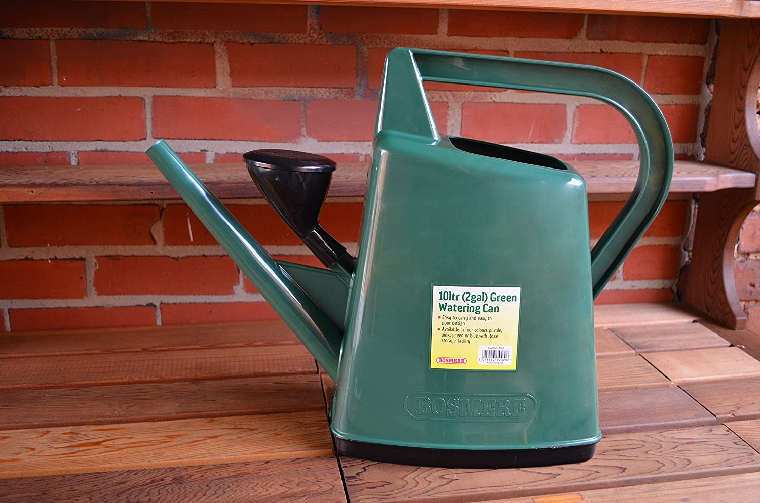 Bosmere Plastic Outdoor Watering Can, 2.6-Gallon, Green N569