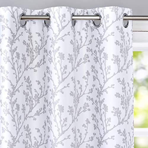 DriftAway Sarah Floral Tree Branch Pattern Blackout Thermal Insulated Window Curtain Grommet 2 Layers 2 Panels 52 Inch by 84 Inch Gray