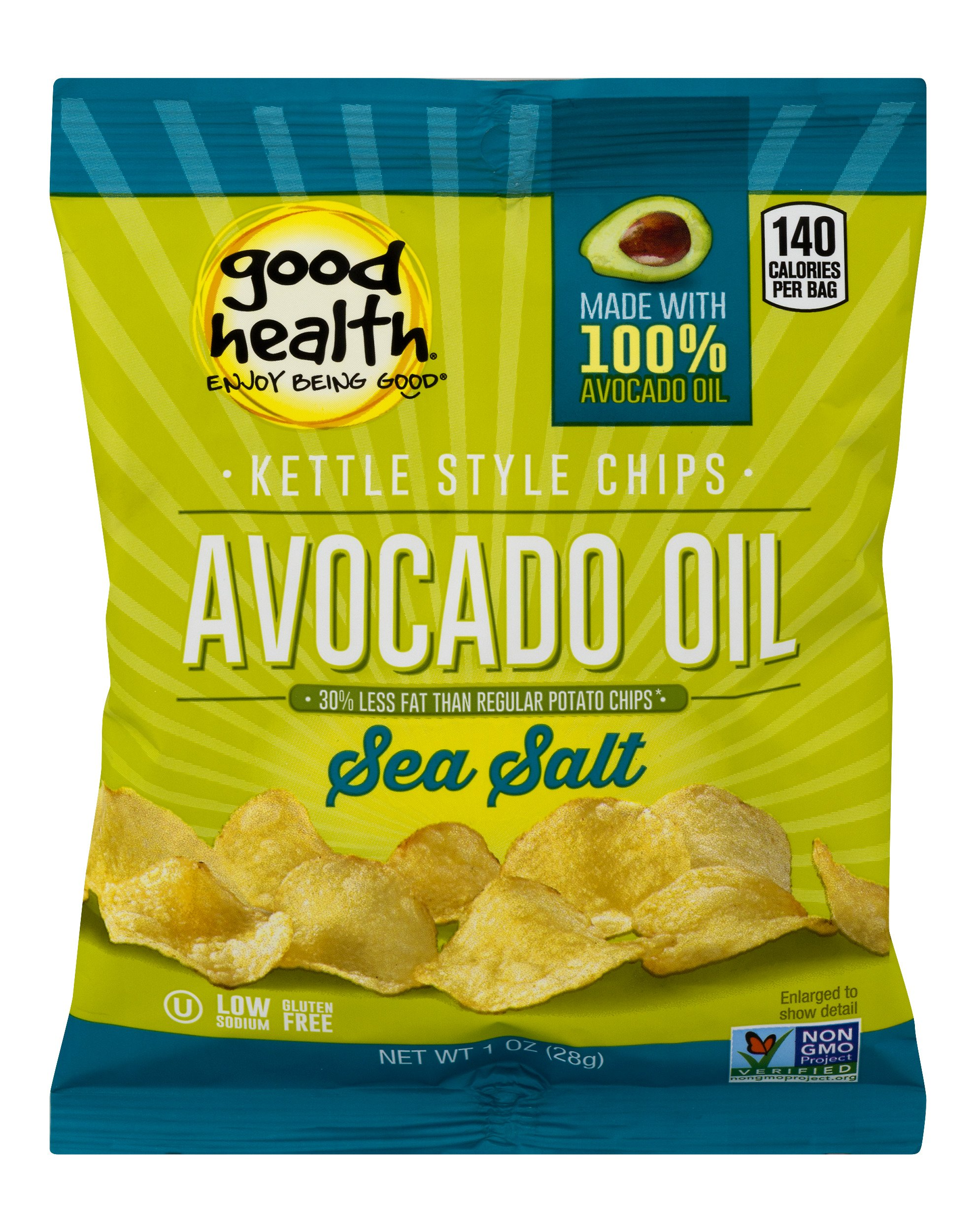 Good Health Kettle Style Potato Chips, Avocado Oil, Sea Salt, 1 oz. Bag, 30 Pack - Gluten Free, Crunchy Chips Cooked in 100% Avocado Oil, Great for Lunches or Snacking on the Go by Good Health Natural