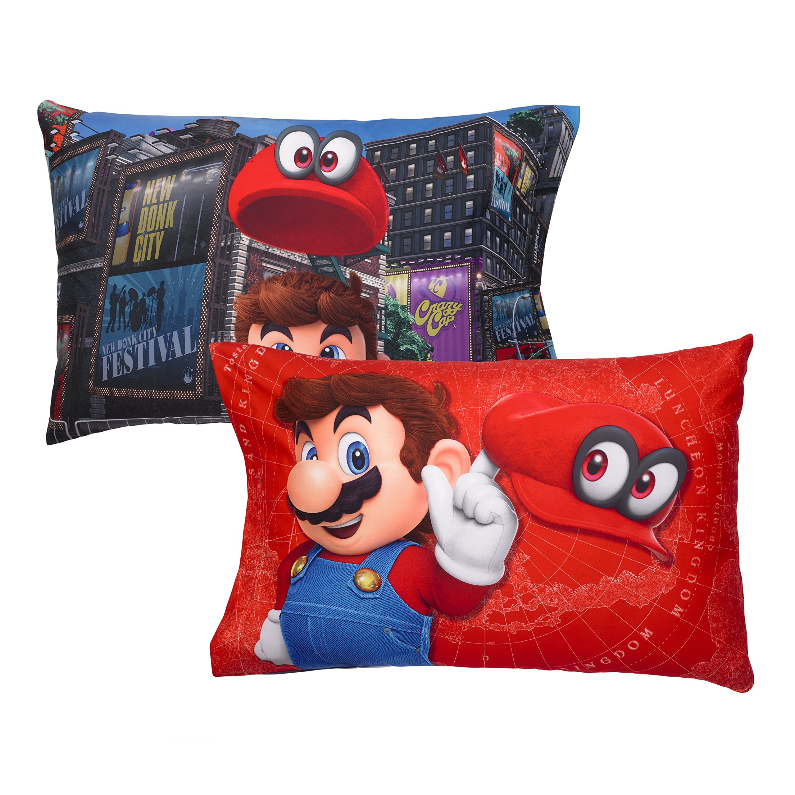 A&L 4 Piece Kids Blue Super Mario Sheet Set Full, Red Oddyssey Bedding Video Games Bed Sheets Tanks Hats Buildings Fun Bright Bold Soft Cozy Comfortable Yellow Green Brown Durable, Polyester