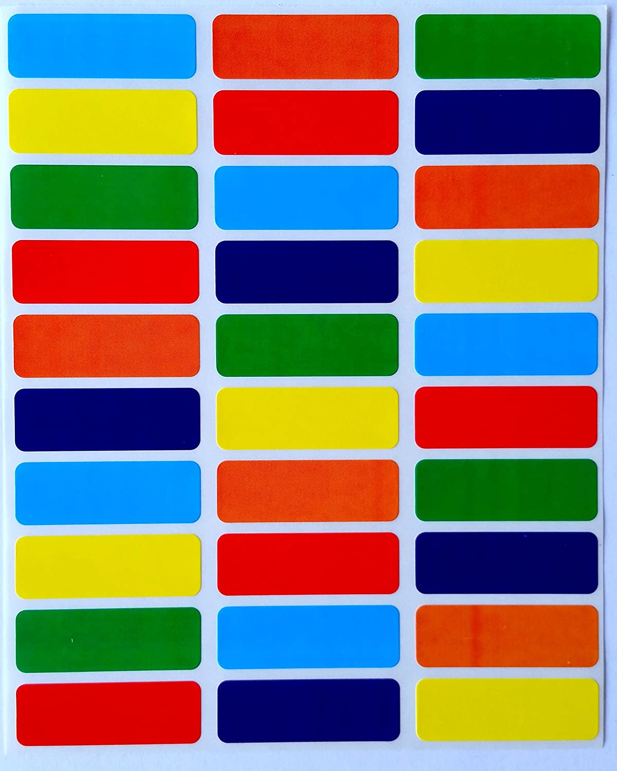 amazon com colored coding labels rectangular 1 375 inch by 0 5