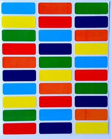 Rectangular color coding labels 1 3 8 inch by 1 2 inch assorted colors