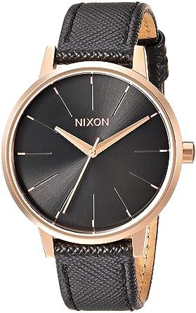 41596ea4eece5 Nixon Kensington Leather Rose Gold Black Casual Designer Women s Watch (37mm.  Rose Gold