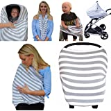 The Best Multi-Use Nursing Breastfeeding Cover, Soft & Stretchy Baby Car Seat Canopy, Scarf, Shopping Cart, Stroller & High Chair cover for Girls & Boys. Perfect Baby Shower Gift-Stripe