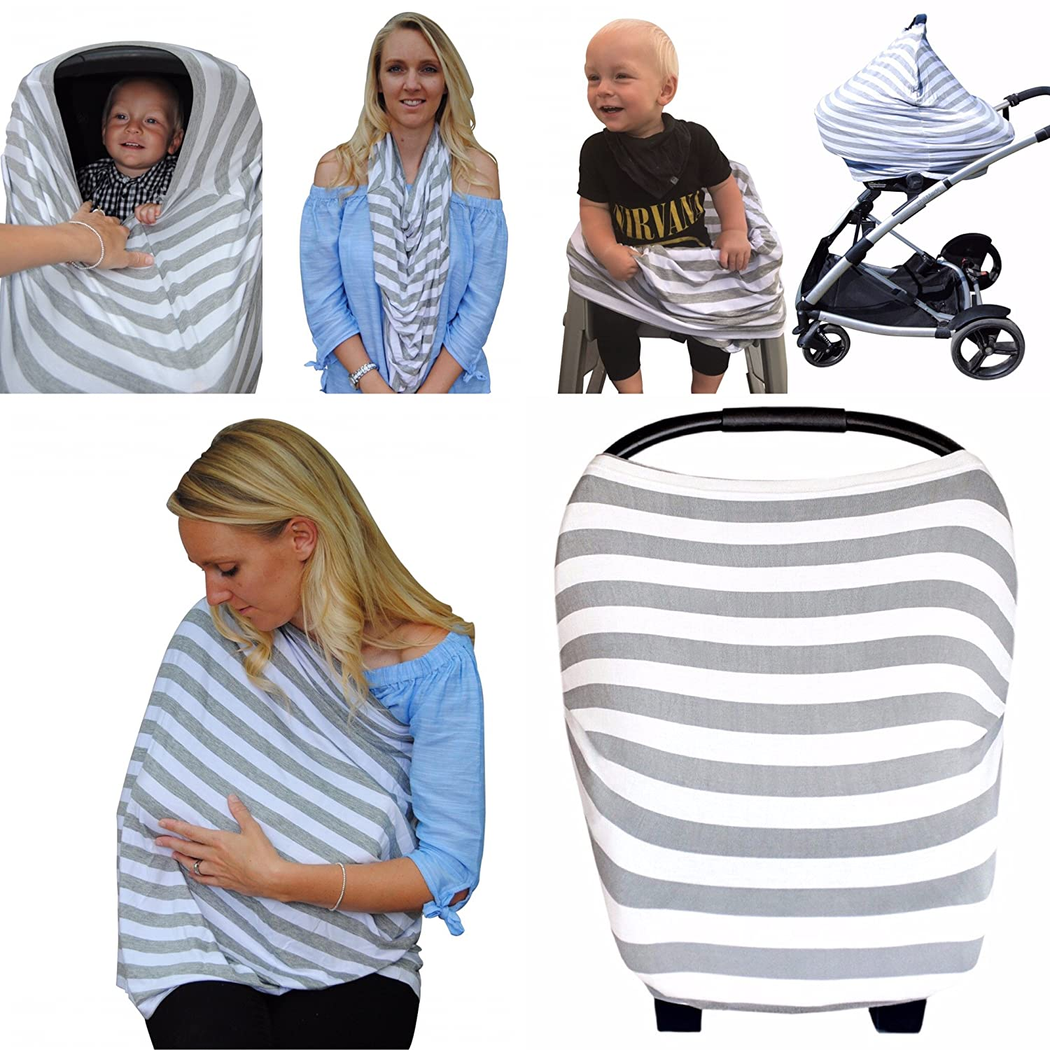 Nursing Breastfeeding Cover 5-in-1 Multi-Use Scarf – Breathable Stretchy Fabric – Convertible Nursing Cover, Baby Car Seat Canopy, Infinity Scarf – Breastfeeding Cover for Boys & Girls Chunky Chops