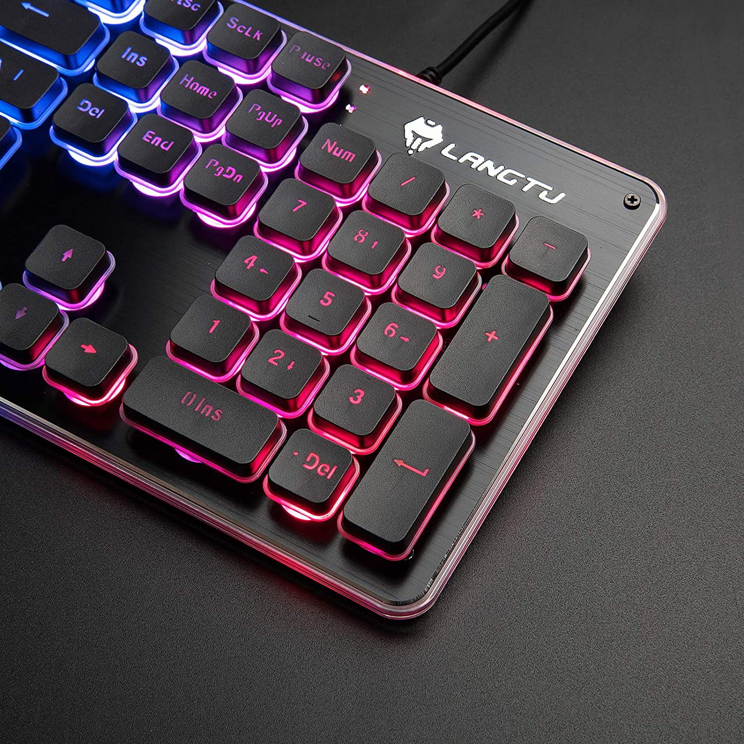 LANGTU Gaming Keyboard and Mouse Combo with Large Mouse Pad, Colorful LED Backlit Quiet Keyboard for Study, All-Metal Panel USB Wired 25 Keys ...
