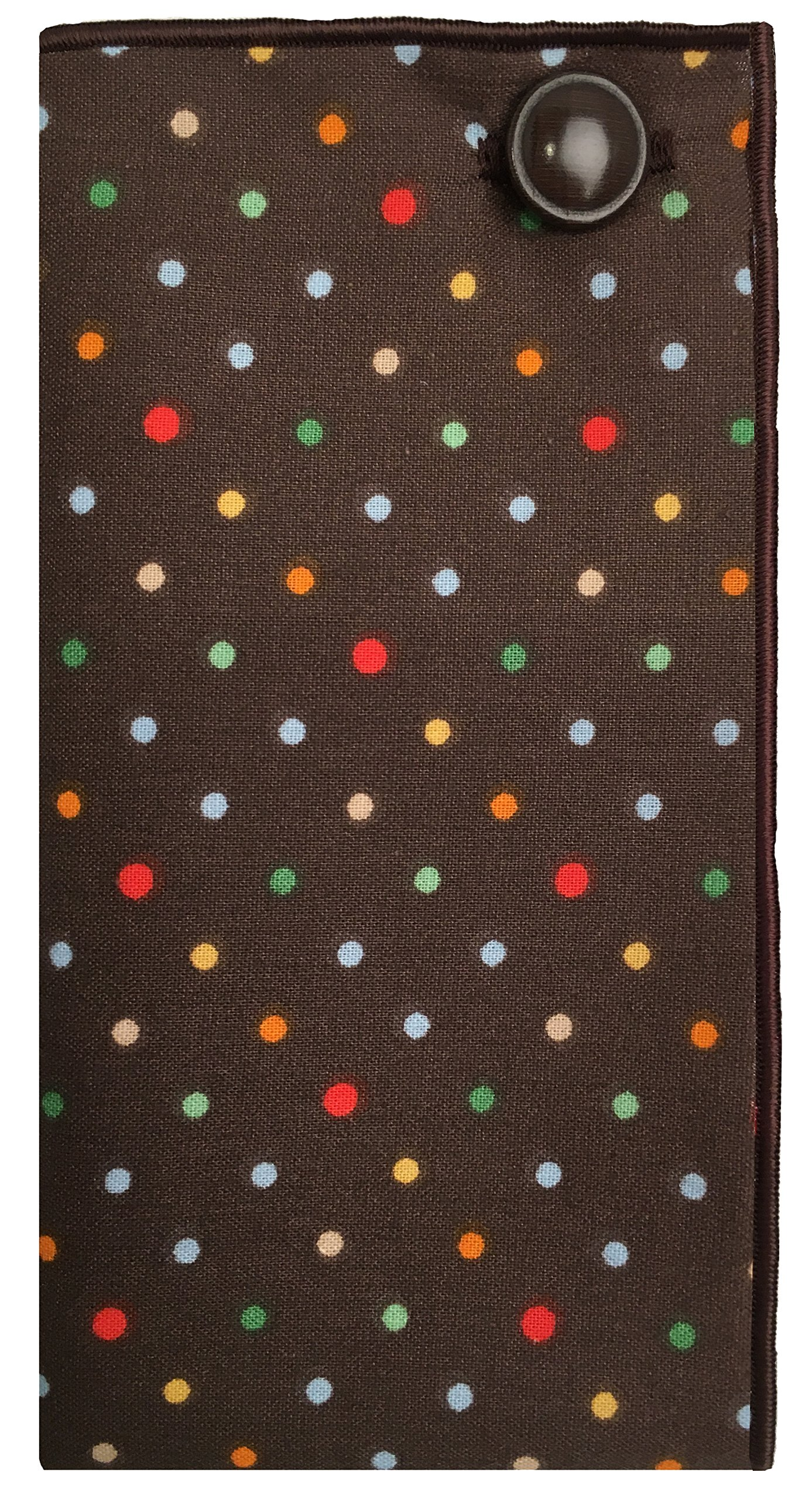 Brown & Multi Colored Dot w/ Brown Button Mens Pocket Square The Detailed Male