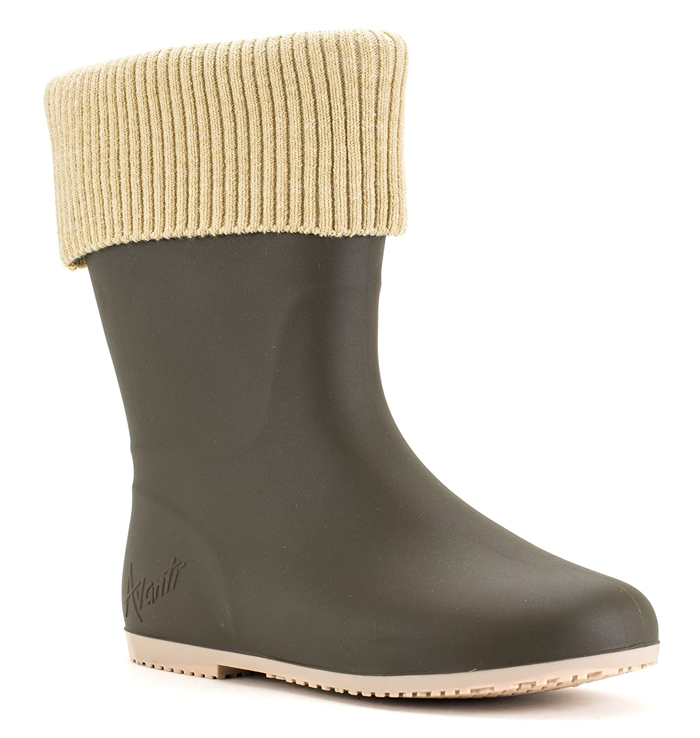 Avanti Storm Rain Boot Waterproof With Removable Knitted Cuff Monogram-Able Foldable B078SY8X6N 6 B(M) US|Olive and Beige