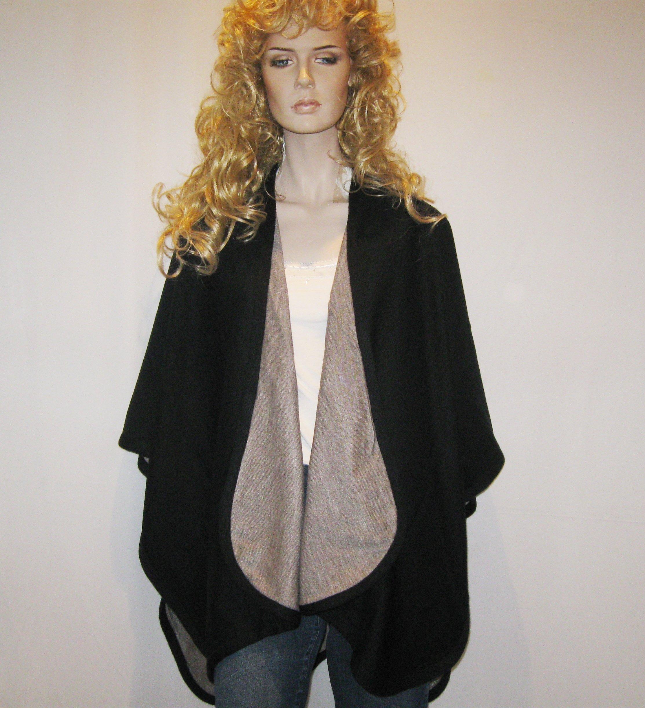Cashmere Pashmina Group- Cape Woolen Reversible Ruana Knitted Poncho Shawl Cardigans Sweater Coat (Black/ Stone) by Cashmere Pashmina Group (Image #7)