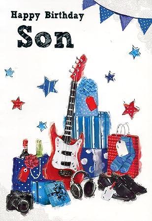 Feliz cumpleaños hijo - Guitarra y presenta Tarjeta de felicitación ...