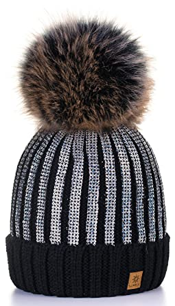 0cce9f298f8 4sold Womens Ladies Winter Hat Knitted Beanie Large Pom Pom Cap Ski  Snowboard Hats Bobble Gold Circle (Black Silver)  Amazon.co.uk  Clothing