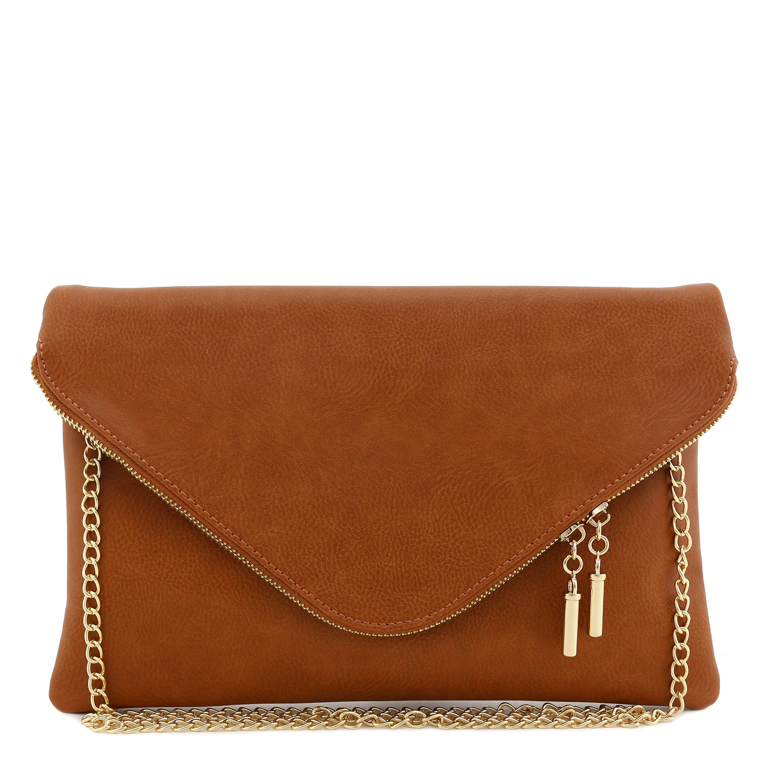 Large Envelope Clutch Bag with Chain Strap (Dark Tan)