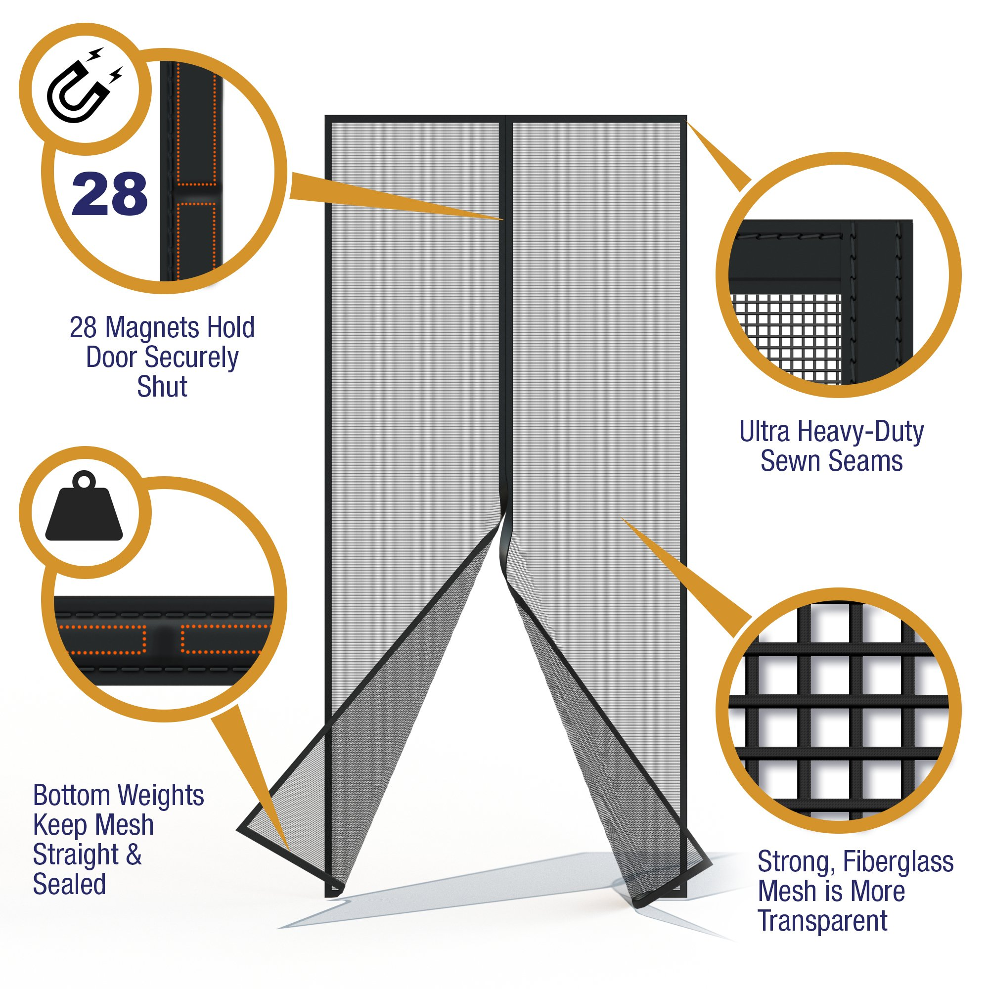 Home Diamonds Ultra Heavy Duty Fiberglass Magnetic Mesh Screen Door Full Frame Velcro, 28 Strong Magnets, Fit Doors up to 34 x 81-inches by Home Diamonds (Image #4)