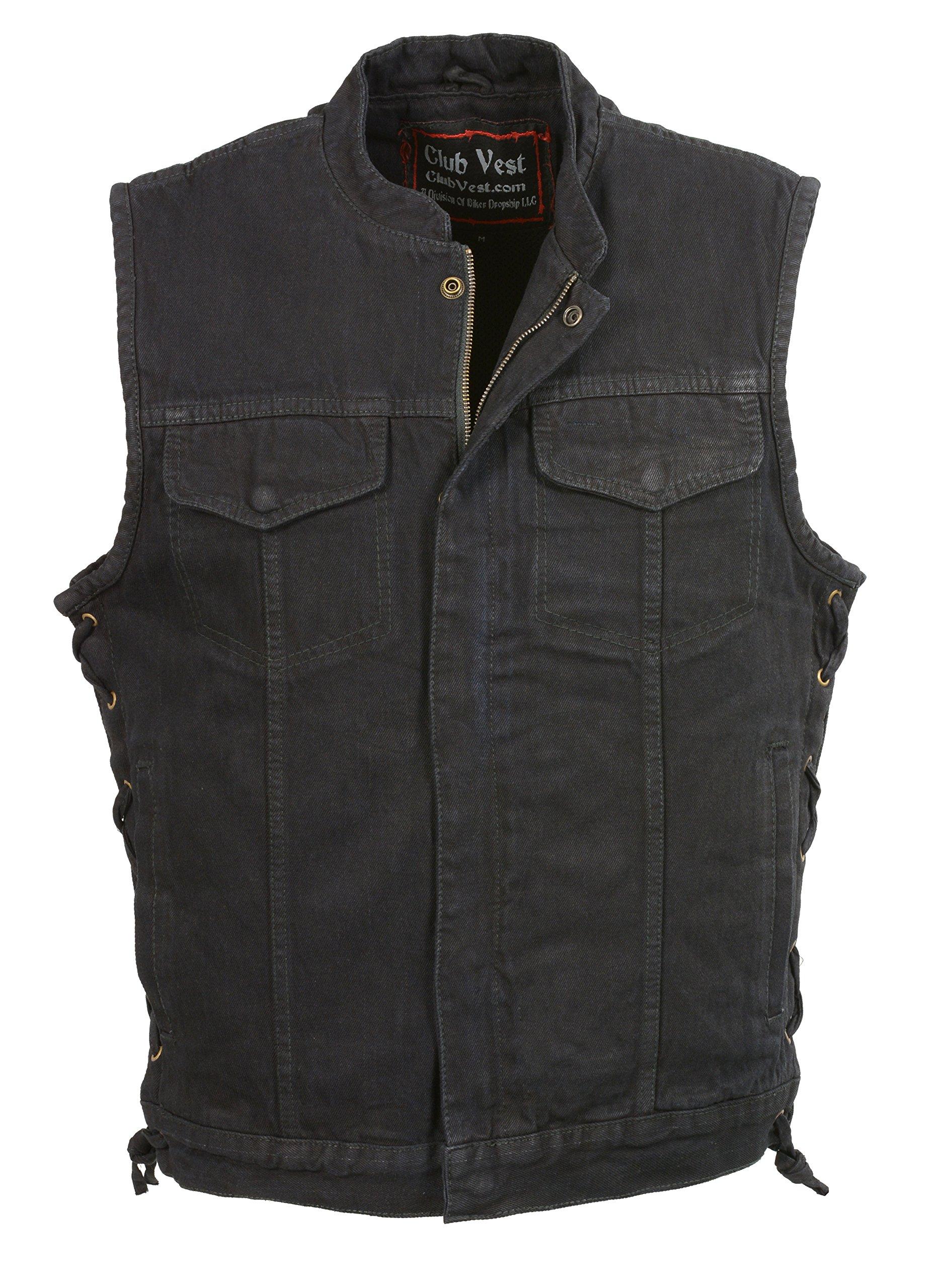 Club Vest Men's Side Lace Denim Club Vest With Hidden Zipper(Black, 6X) by Club Vest
