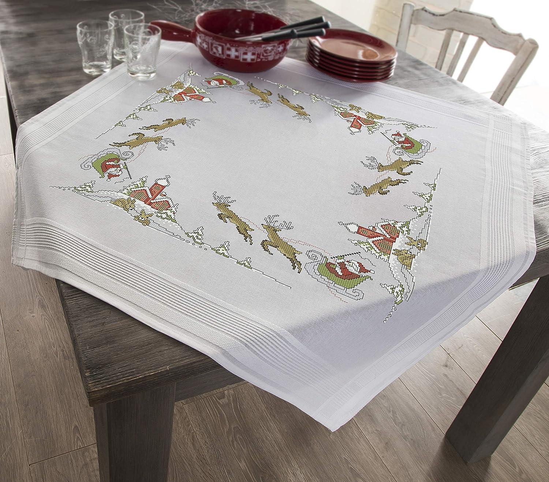 Kamaca Stickpackung WEIHNACHTSSPA/ß Tischdecke 80x80 cm Kreuzstich vorgezeichnet Baumwolle komplettes Stickset mit Stickvorlage Weihnachten