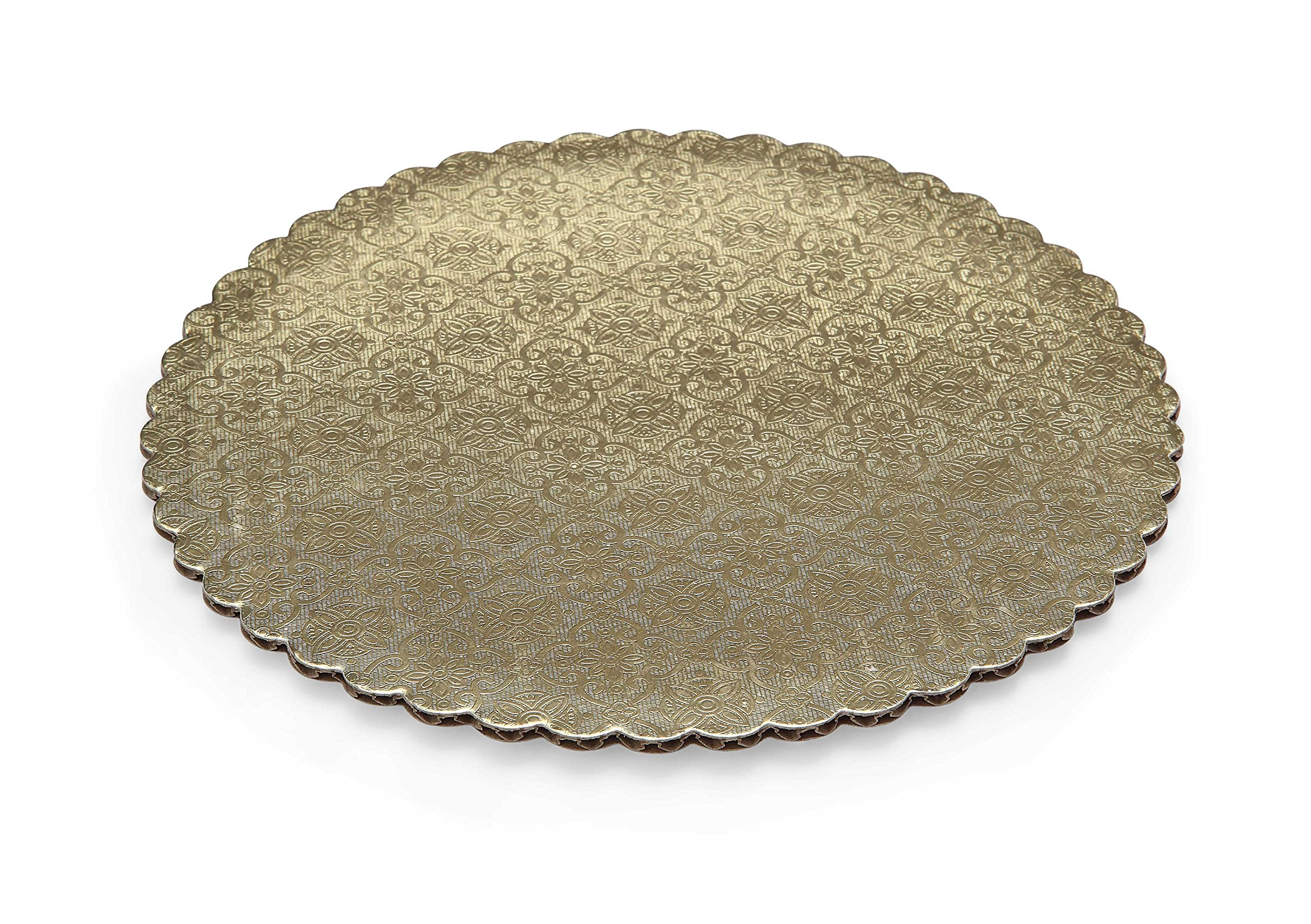 W PACKAGING WPGC12 12'' Gold Scalloped Edge Cake Circle, C-Flute, Corrugated with Coated Embossed Foil Paper (Pack of 100)