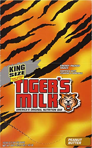 Tiger s Milk Peanut Butter Nutrition Bars – Energy Packed Snack Fortified with Vitamins Minerals – 55 grams, 1.94 oz Pack of 12 Bars