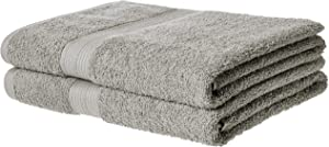 AmazonBasics Fade-Resistant Cotton Bath Towel - Pack of 2, Grey