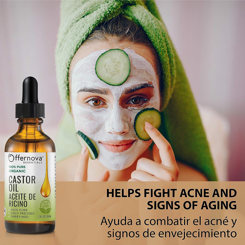 Amazon.com: Aceite de Ricino Organico- Castor Oil 2 Oz - for Hair Growth Eyelashes and Skin - Para el crecimiento de pelo pestanas y cejas: Beauty