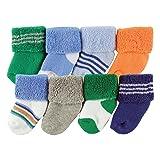 Luvable Friends Unisex 8 Pack Newborn Socks, Blue