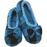 Snoozies Slumbies Slippers for Women - Buffalo Plaid Ballerina Womens Slippers - Fuzzy House Slippers for Women - Lightweight Slippers