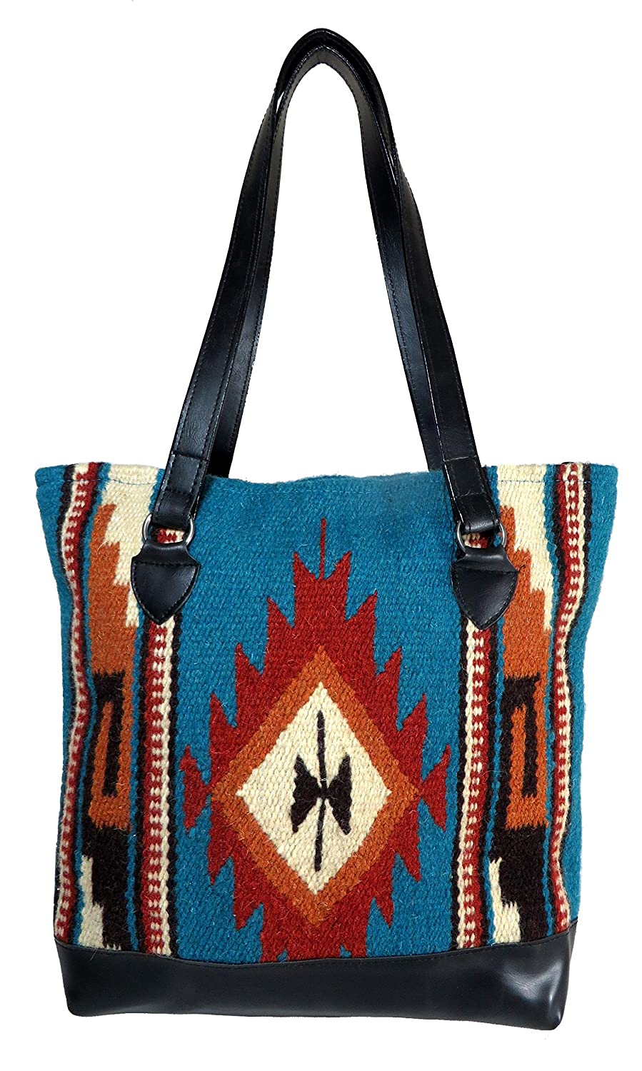 amazoncom large tote bag purse hand woven wool tote by el paso designs in western u0026 native american designs turquoise clothing - Large Tote Bags