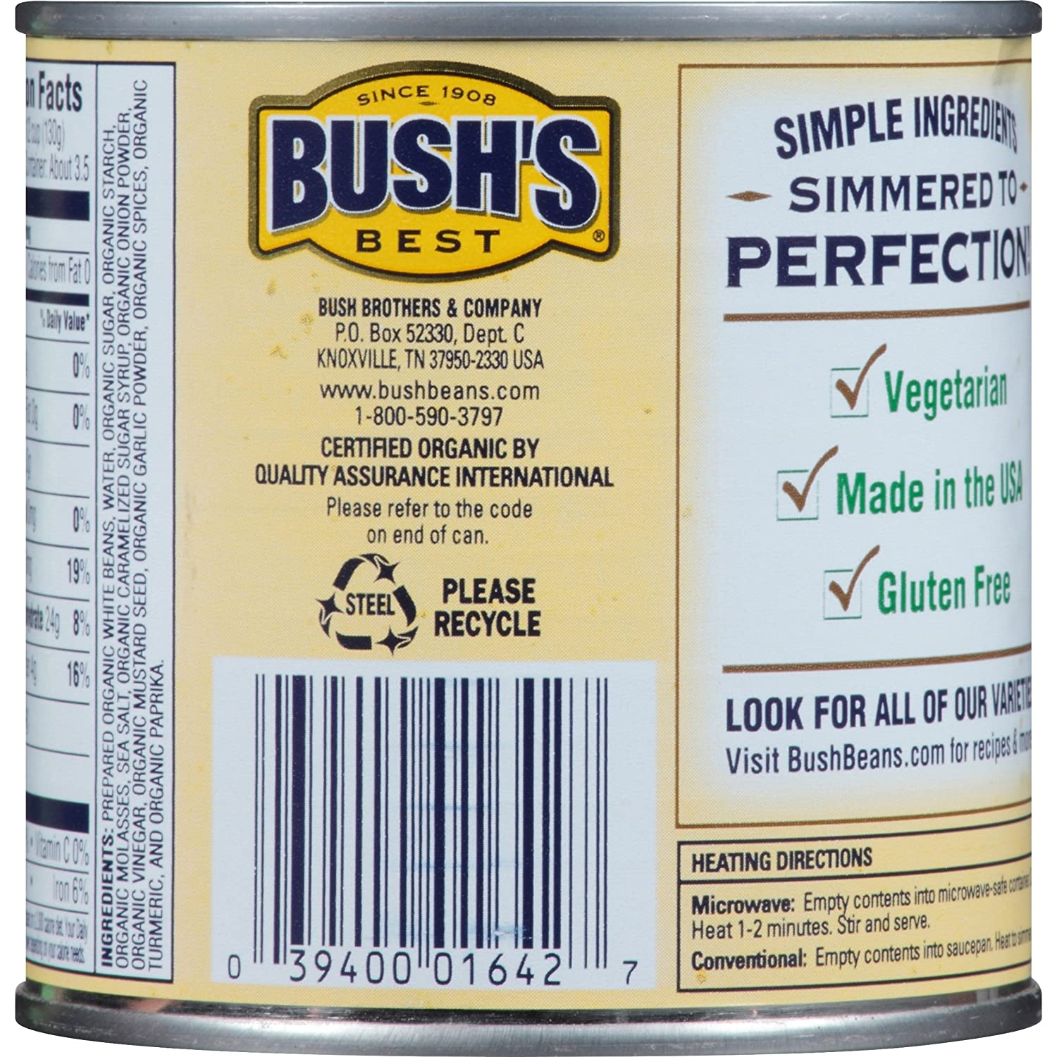 Amazon.com : Bush's Best Organic Baked Beans, 16 oz (12 cans) : Grocery & Gourmet Food